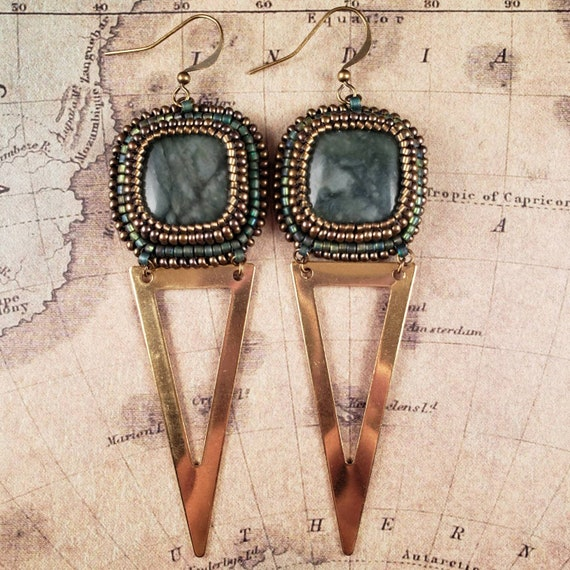 1980's Inspired Earrings, Jade Squares and Long Gold Metal Triangle Beaded Earrings
