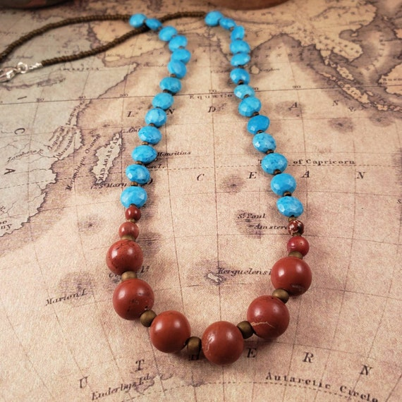 Bright Blue Turquoise and Deep Red Jasper Beaded Necklace