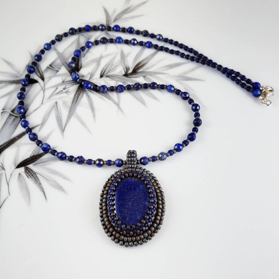 Classic style, beautiful lapis necklace and hand bead embroidered lapis pendant with matte silver accents
