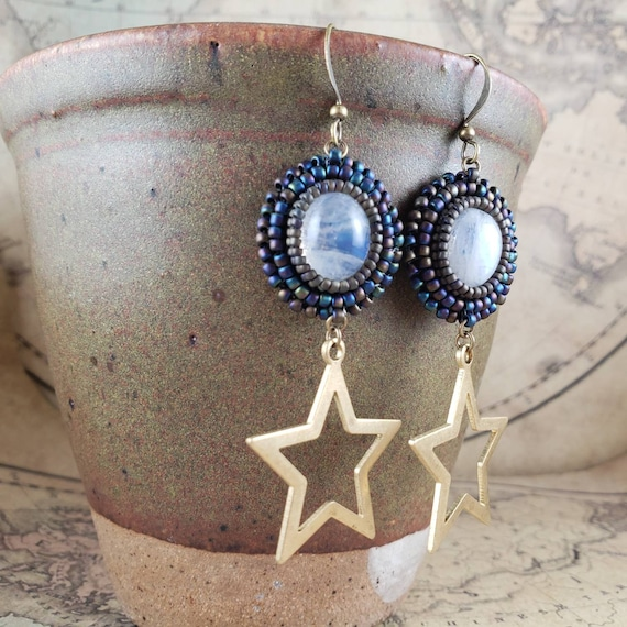 Long Moonstone and Stars Light Weight Hand Beaded Earrings