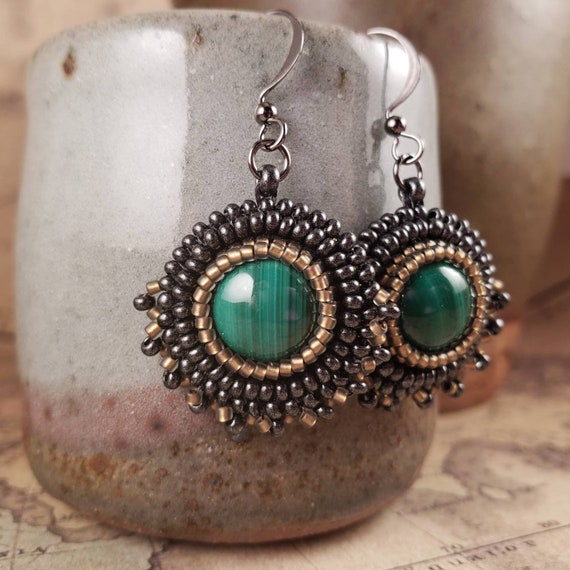 Sweet Malachite Green Striped Earrings with Pewter and Bronze Glass Beads