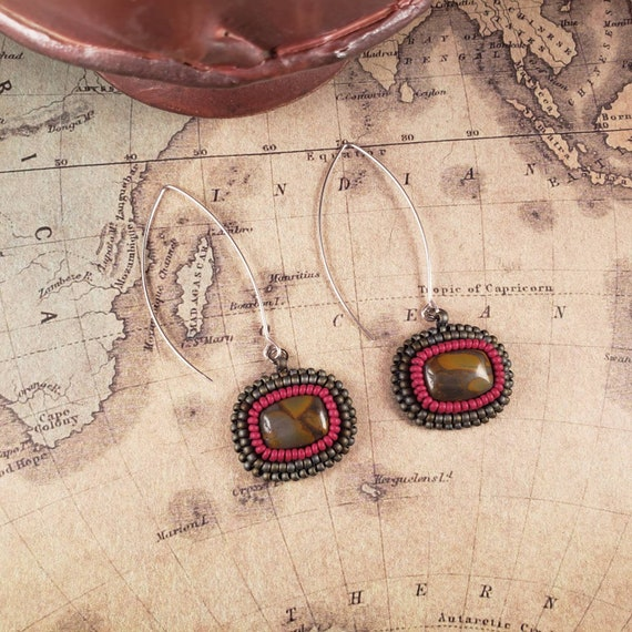 Long Hanging Red, Gray and Orange Noreena Jasper Earrings Natural Modern Art Matrix