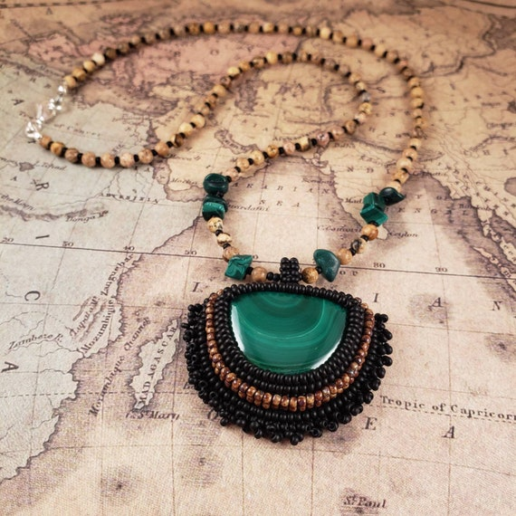 Green Malachite Pendant and A Picture Jasper Necklace
