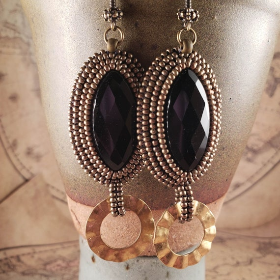 Long Black Onyx Beaded Earrings with Brass Fanned Rings Foxxy Jewelry CynthiaFoxDesign