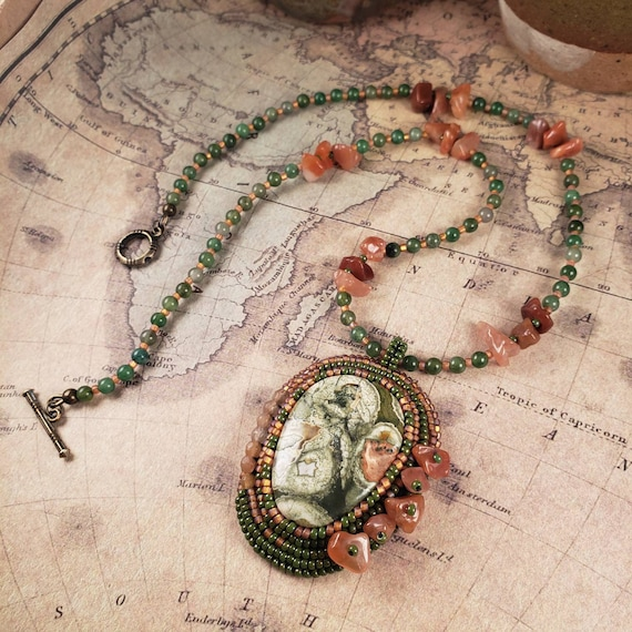 Green Rainforest Jasper Pendant on Orange Carnelian and Green Aventurine Beaded Necklace