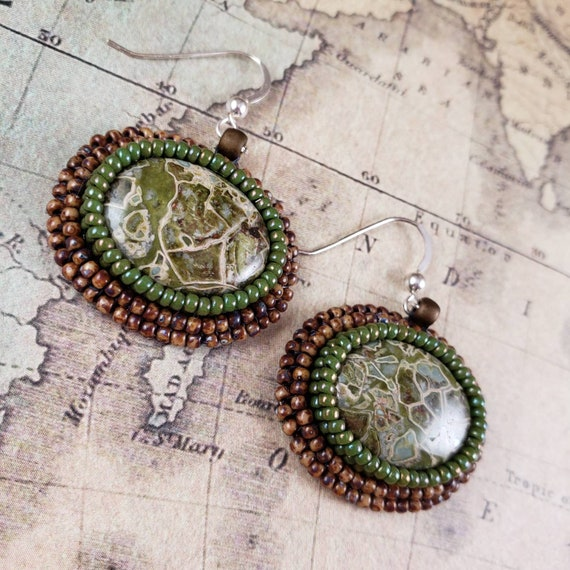Green Mosaic Jasper Hand Bead Embroidered Earrings, Brecciated Earthy Moss and Brown Colors