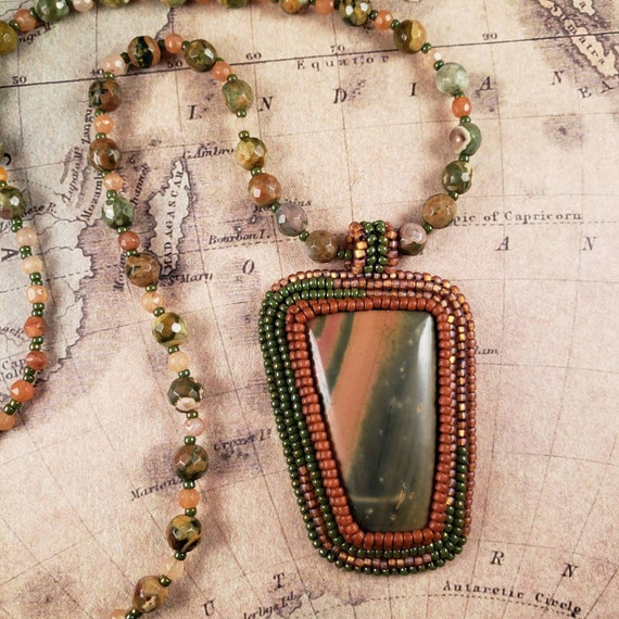 Funky Big Green Jasper Pendant with Green Rhyolite and Orange Carnelian Beaded Necklace
