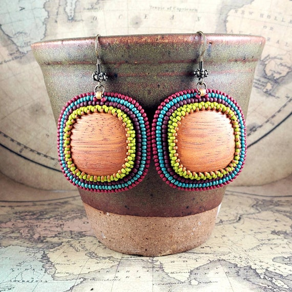 Dreaming of Spring Fun, Bright Hand Beaded Wooden Earrings.  A Rainbow of Lime, Turquoise, Red and Orange