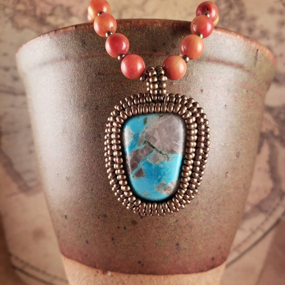 Bright Blue Nacozari Turquoise Pendant with Red Apple Coral beaded Necklace