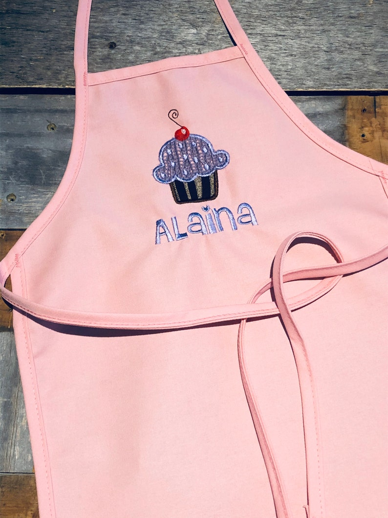Personalized Kids Apron  Cupcake Girl Apron  Birthday Kid image 0