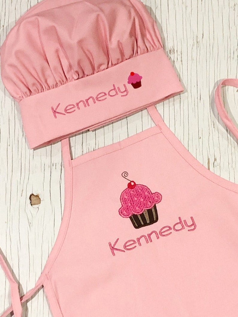 Kid Apron and Hat Set  Cupcake Apron and Hat Set  Lil Chef image 0