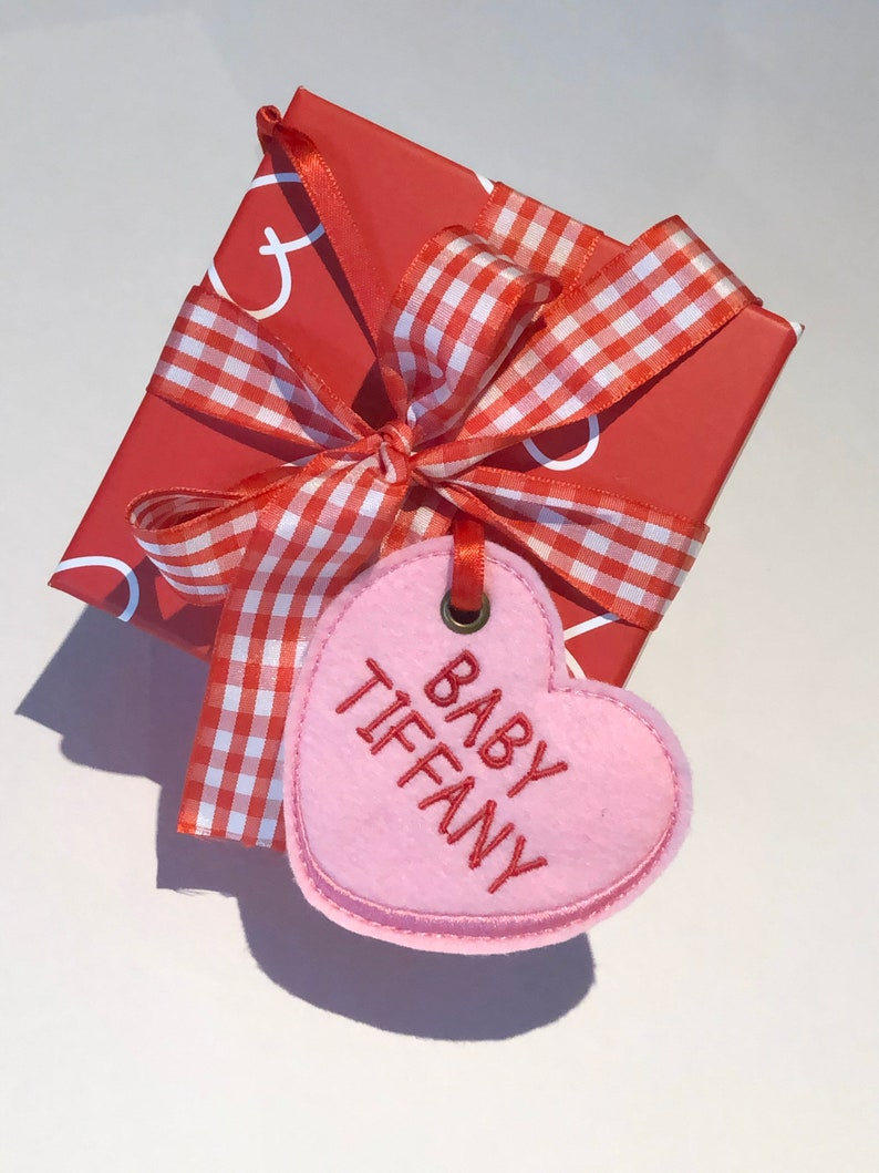 Embroidered Candy Heart Tag  Personalized Felt Heart Gift Tag image 0