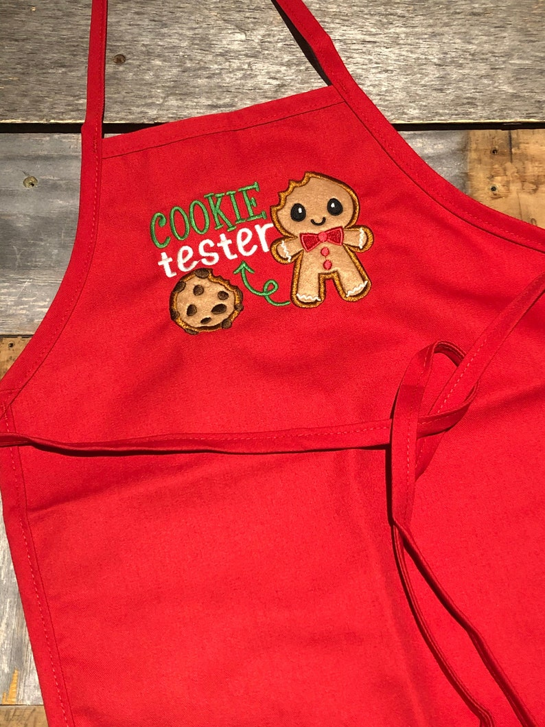 Official Cookie Tester Kid Apron  Embroidered Christmas Kid image 0