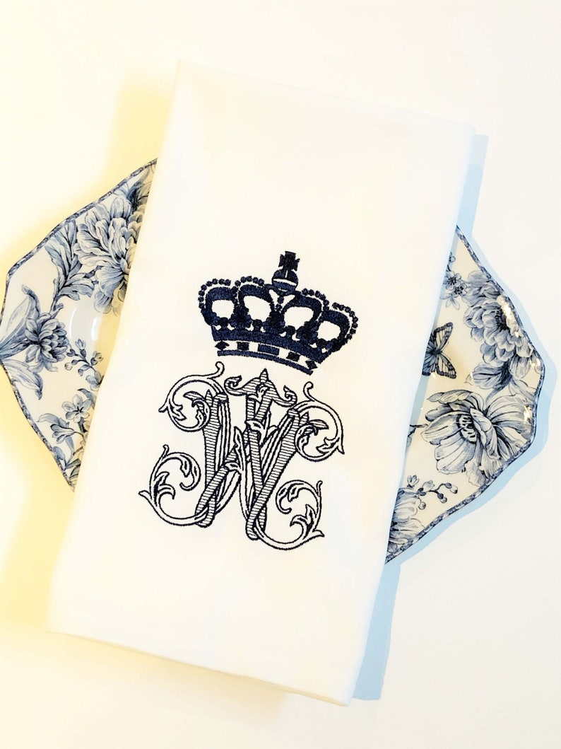 Crown Monogram Tea Towel  Elegant Custom Tea Towel  Queen image 0