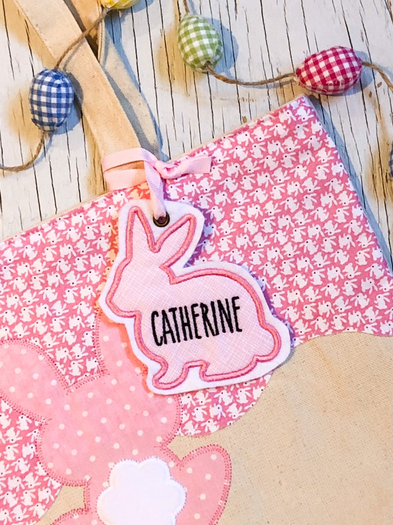 Easter Bag Tag  Easter Basket Tag  Easter Tote Name Tag  baby pink