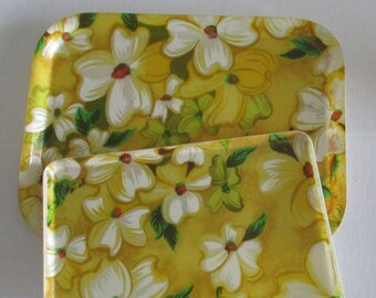Vintage 70s Molded Fiberglass Tray, Set of two trays Yellow Floral Serving Tray Mold