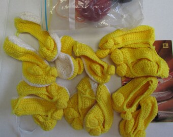 Estate Find: lot of 6 pairs yellow crochet animal slippers house slippers wool