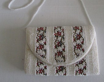 Vintage Fine Arts New York Tapestry Purse Clutch Beaded Made in Hong Kong Lined w/Pocket