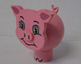 Vintage Peg Doll Pig Farm Animal Pink Piggy Smiling pig