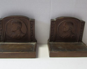 Vintage Theodore Roosevelt Bookends Bronze 1921 Louis V. Aronson Historical Bookends