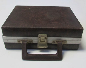 Music Cassette Tape Holder Carry Case Faux Lether Service Mfg Holds 12
