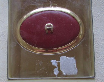 Vintage Etienne Aigner Leather Double Pill Box Red Oval, in Original Box New Old Stock never been used