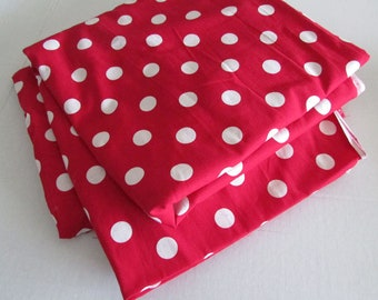 "white polka dot fabric 43"" wide by 94"" long white polka dot on red back big dots"