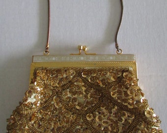 Vintage Gold Tone Sequin Beaded Purse Evening Bag Boho Retro Mid Century Hand-Made in Hong Kong