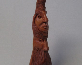 "Vintage Cypress Knee Wood Carved Wood Spirit Gnome Two Faces Totem Pole 10"" Handcarved Florida Swamp"
