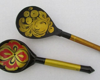 Vintage Russian set of 2 wooden spoons Soviet era hand painted traditional