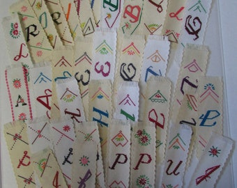 Estate Find: cross stitch bookmarks Handmade Lot of 36 with various initials initial bookmark