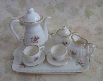 Vintage Mini Dollhouse 10 pc Coffee/Tea Set  Rose Porcelain Miniature  Taiwan