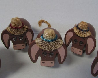 Vintage Peg Doll Animals Farm Animals Cow with straw hat