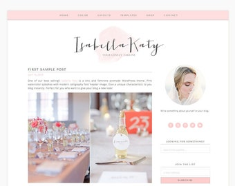 "Wordpress Theme Responsive Blog Design ""Elle"" - Feminine and clean - Ecommerce Ready"