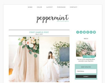 "Wordpress Theme Responsive Blog Design ""Peppermint"" - Minimalist and cute - eCommerce Ready"