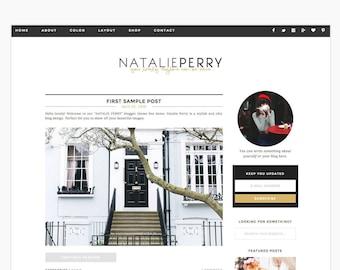 "Wordpress Theme Responsive Blog Design ""Natalie Perry"" - Clean simple feminine"
