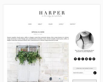 "Wordpress Theme, Responsive Blog Theme Design ""Harper"" - Genesis Website Theme - eCommerce Ready"