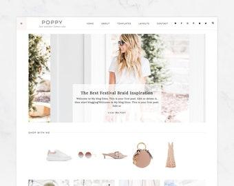 "NEW Wordpress Theme - Wordpress Ecommerce Theme - Fashion Blogger Theme - Genesis Theme - ""Poppy"" Instant Digital Download"