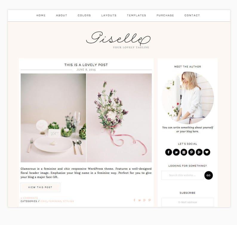 Giselle Fashion /& Lifestyle Blogs Wordpress Theme Wordpress Blog Genesis Theme  Beauty