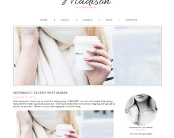 Blogger Template Premade Blog Theme Design Madison - Instant Digital Download, Auto Slider, Clean