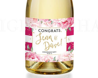 Engagement Party Gift CHAMPAGNE LABEL Congrats Newlyweds Engagement Gift for Couples Champagne Bottle Personalized  Gift Labels - Jenn