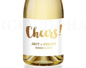 Engagement Party Gift CHAMPAGNE LABEL Congrats Newlyweds Engagement Gift for Couples Champagne Bottle Personalized Gift Labels - Jacy
