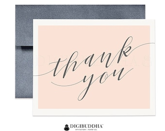 Thank You Cards Peach & Gray Calligraphy Thank You Notecards Folded Single Card or Boxed Set of Modern Cards Elegant Thank You Cards - Allie