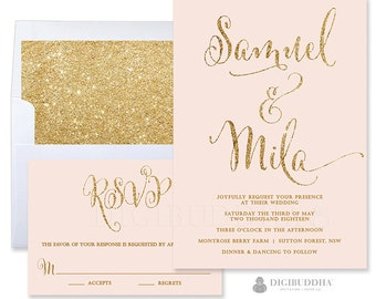 Blush Wedding Invitation Suite 2 Pc Blush Pink Gold Wedding Invitation & RSVP Blush Pink and Gold Wedding Invitation Glitter Wedding - Mila