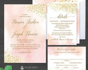 Blush Watercolor + Gold Foil 3Pc WEDDING SUITE Invitation Set Elegant Wedding Invitation Suite Watercolor Wedding Invites RSVP Set - Monica