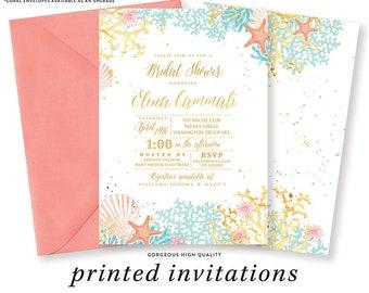 beach theme bridal shower invitation couples shower wedding shower coral turquoise gold starfish printed beach bridal shower invites