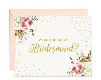 Will You Be My Bridesmaid Card, Bridesmaid Cards, Matron of Honor, Ask Bridesmaid Card, Bridesmaid Maid of Honor, Flower Girl Card - CW0001