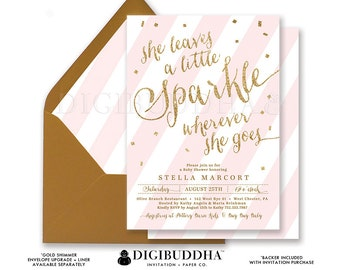 SHE LEAVES a Little SPARKLE Wherever She Goes Invitation Baby Shower Pink Striped Gold Glitter Confetti Girl Priority Shipping orDiY- Stella
