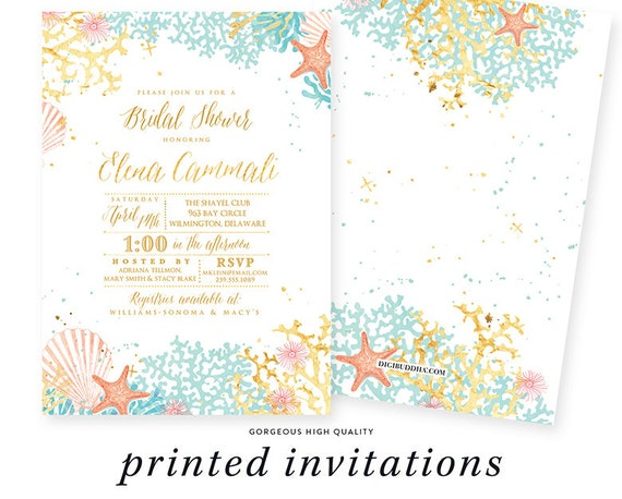 Turquoise And Coral Wedding Invitations: Beach Theme Bridal Shower Invitation, Couples Shower