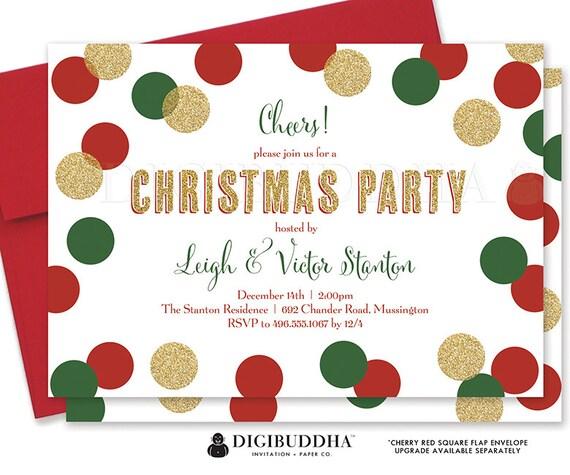 CHRISTMAS PARTY INVITATION Festive Holiday Party Invitation Confetti Christmas Invite Glitter Holiday Party Invite Printed Invitation- Leigh